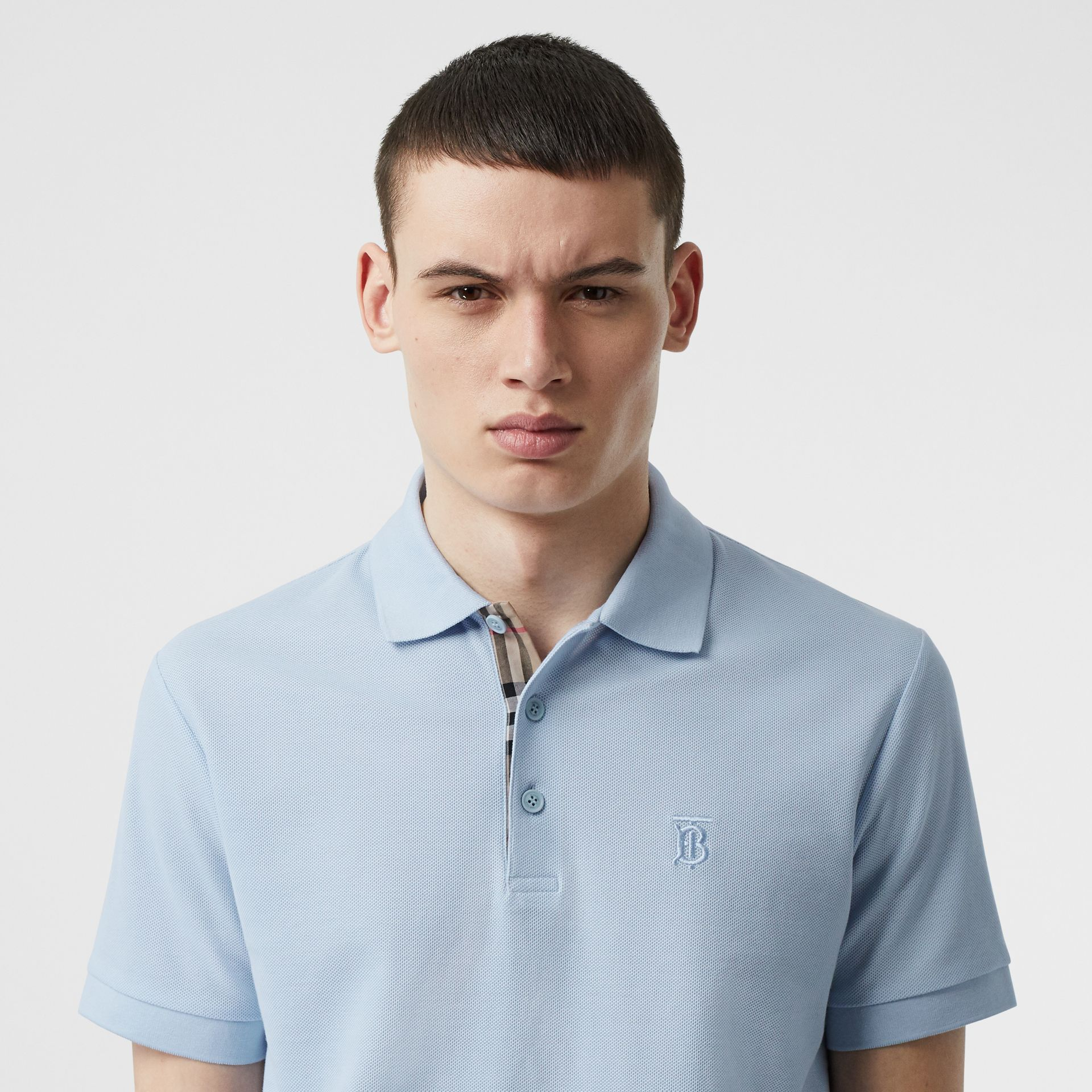 Monogram Motif Cotton Piqué Polo Shirt in Pale Blue - Men | Burberry Canada - gallery image 1