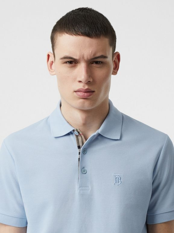 Monogram Motif Cotton Piqué Polo Shirt in Pale Blue - Men | Burberry Singapore - cell image 1