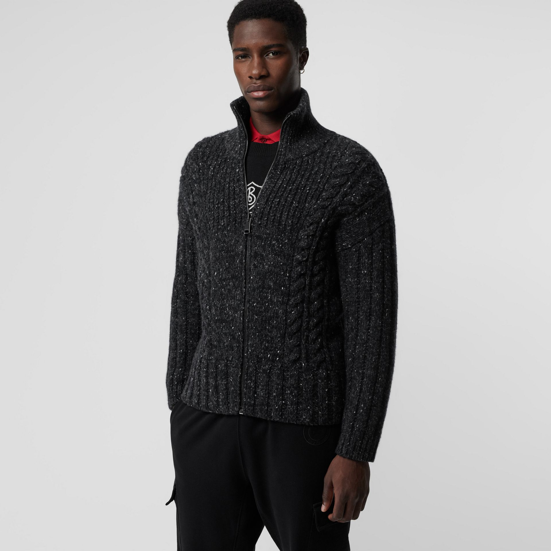 Cable Knit Cashmere Wool Mohair Zip-front Sweater in Black - Men | Burberry - gallery image 4
