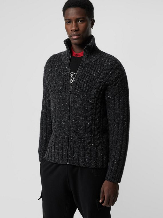 Cable Knit Cashmere Wool Mohair Zip-front Sweater in Black