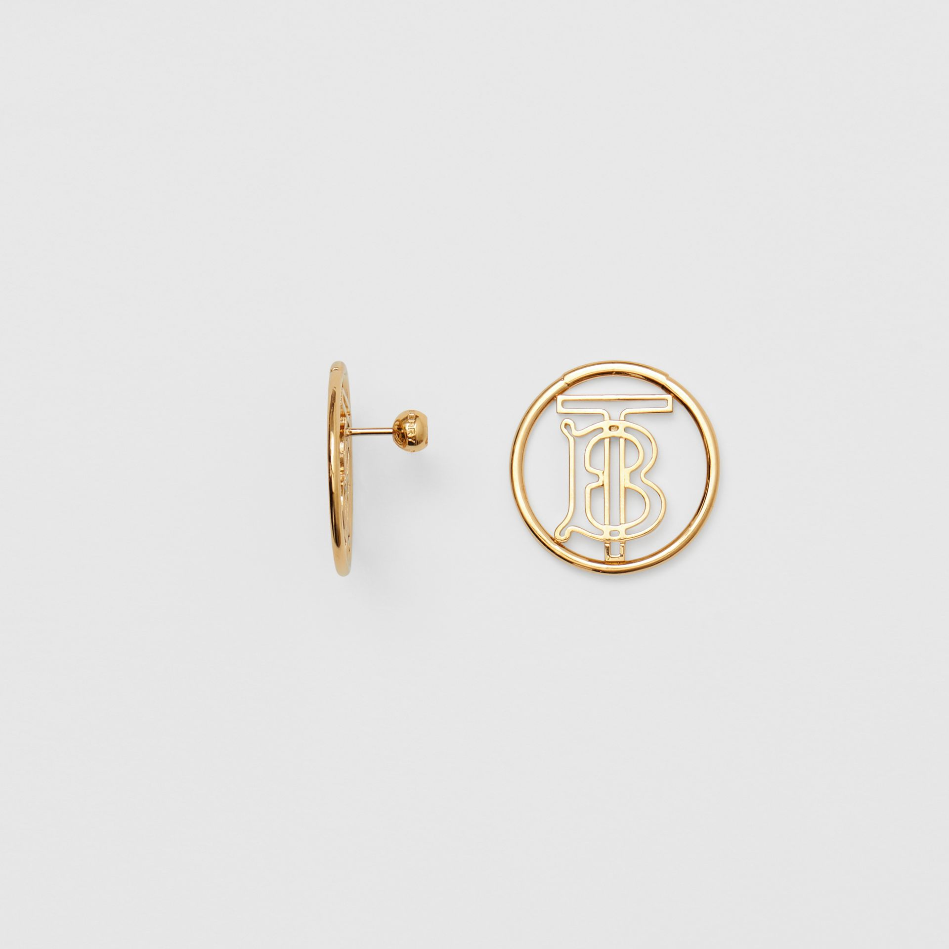 Gold-plated Monogram Motif Earrings in Light - Women | Burberry - gallery image 3