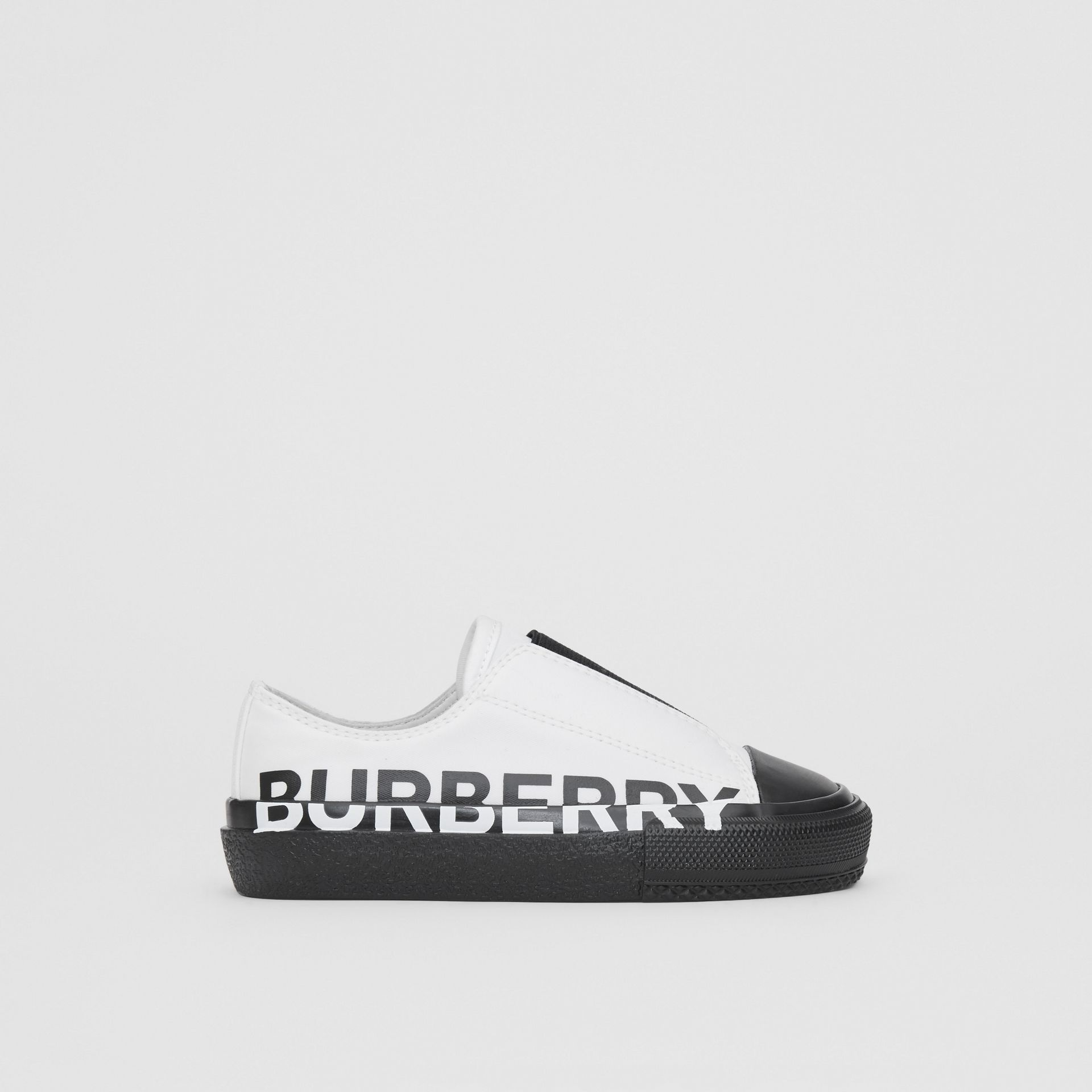 Logo Print Two-tone Cotton Gabardine Slip-on Sneakers in Optic White/black - Children | Burberry - gallery image 3