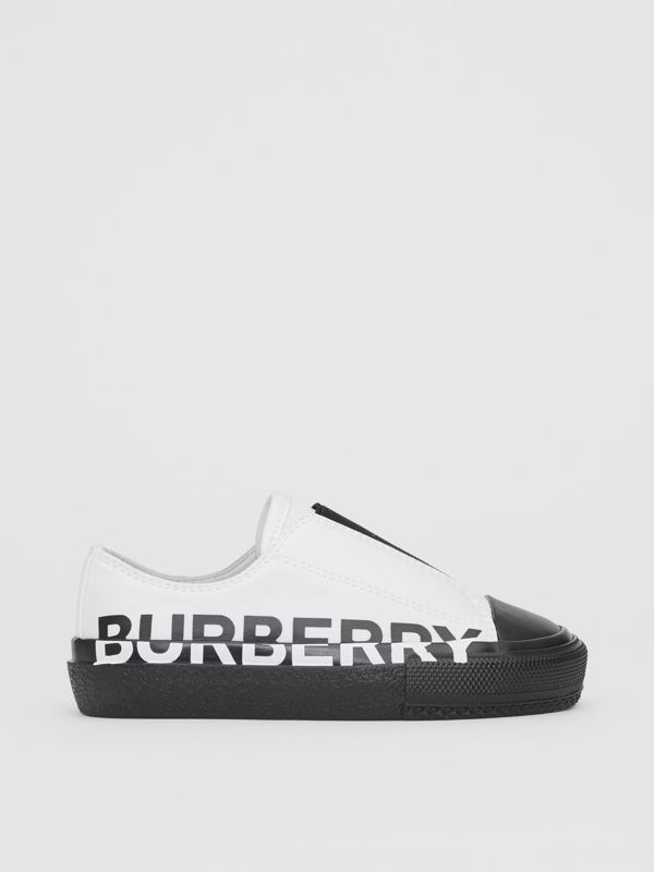 Logo Print Two-tone Cotton Gabardine Slip-on Sneakers in Optic White/black - Children | Burberry Singapore - cell image 3
