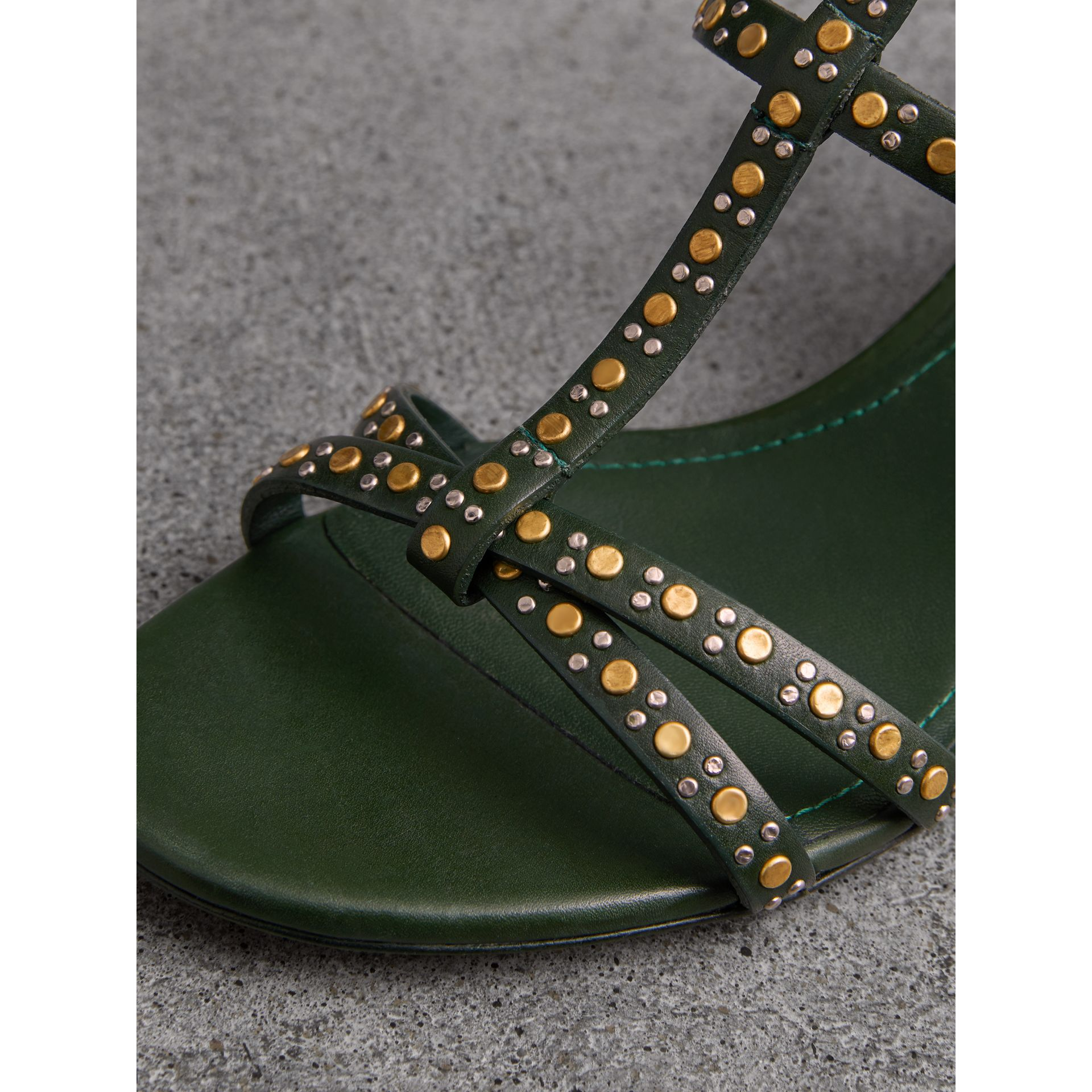 Riveted Leather Cone-heel Sandals in Dark Green - Women | Burberry - gallery image 1