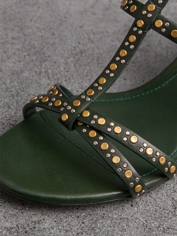 Riveted Leather Cone-heel Sandals in Dark Green - Women | Burberry - cell image 1