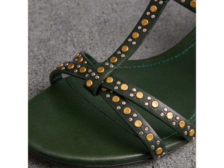 Riveted Leather Cone-heel Sandals in Dark Green - Women | Burberry United Kingdom - cell image 1