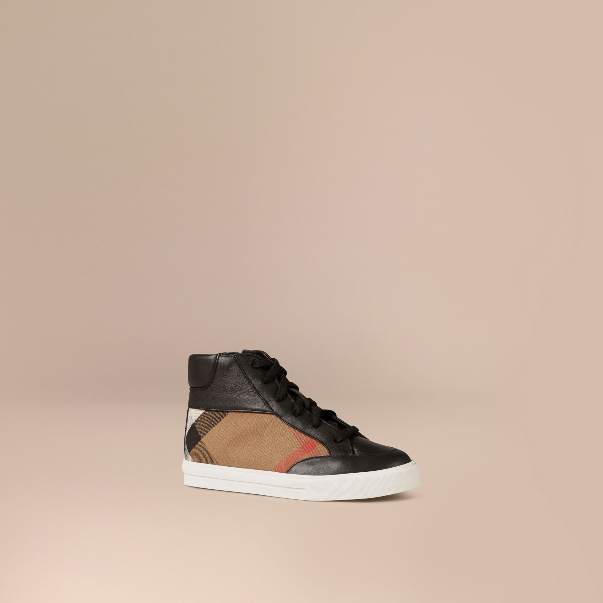 House Check and Leather High Top Trainers in Black | Burberry - gallery image 1