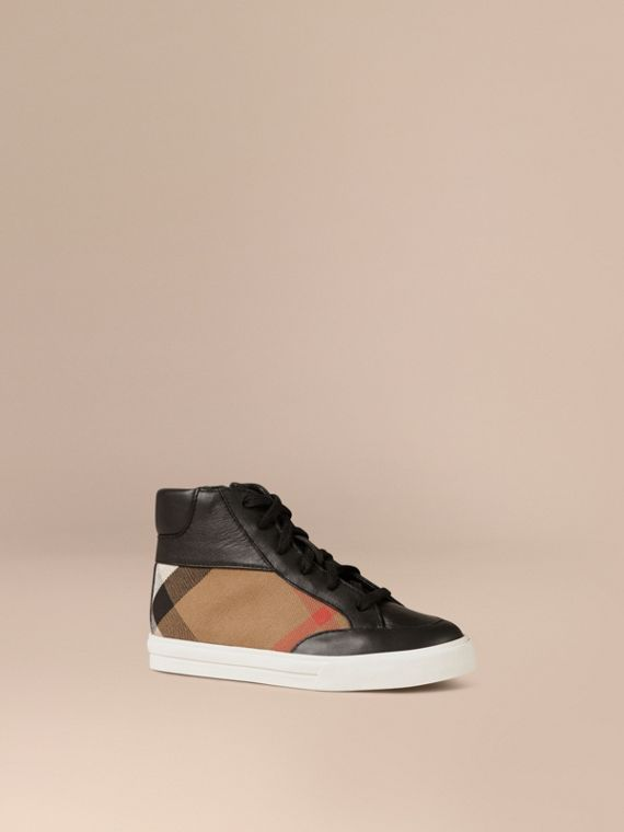 House Check and Leather High Top Trainers in Black