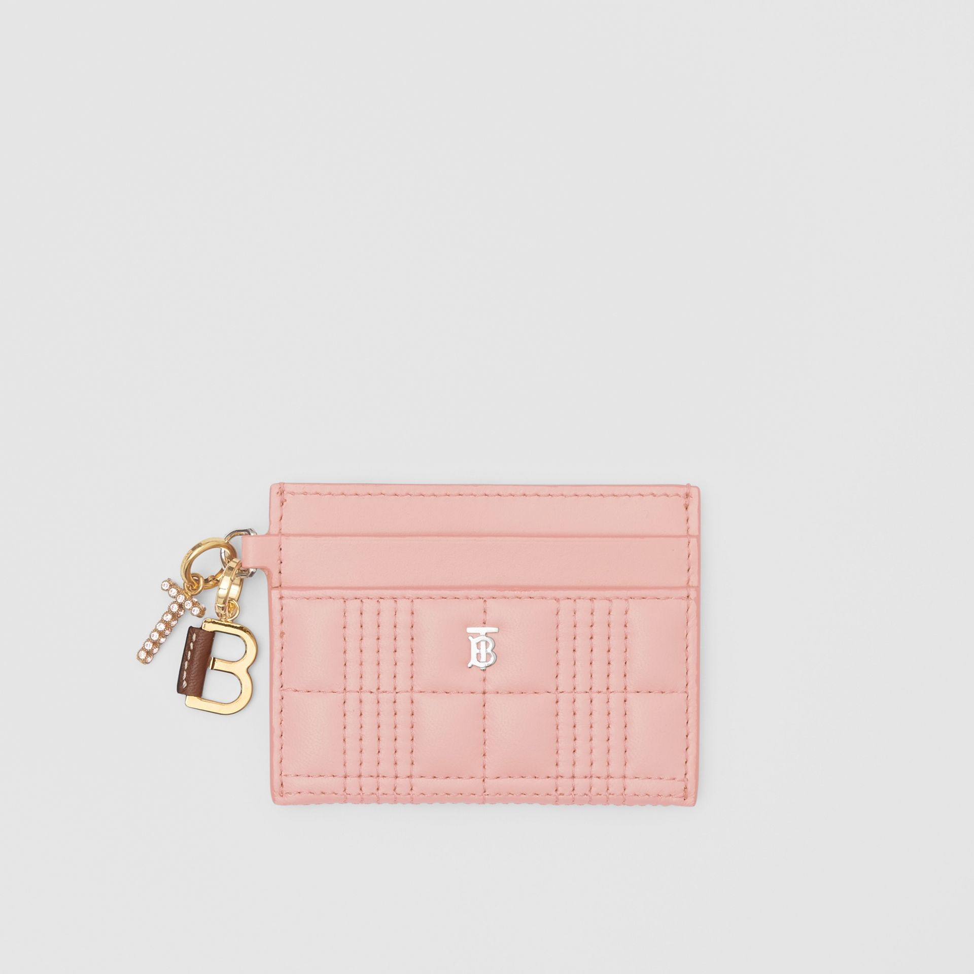 Monogram Motif Quilted Lambskin Card Case in Blush Pink - Women | Burberry - gallery image 5