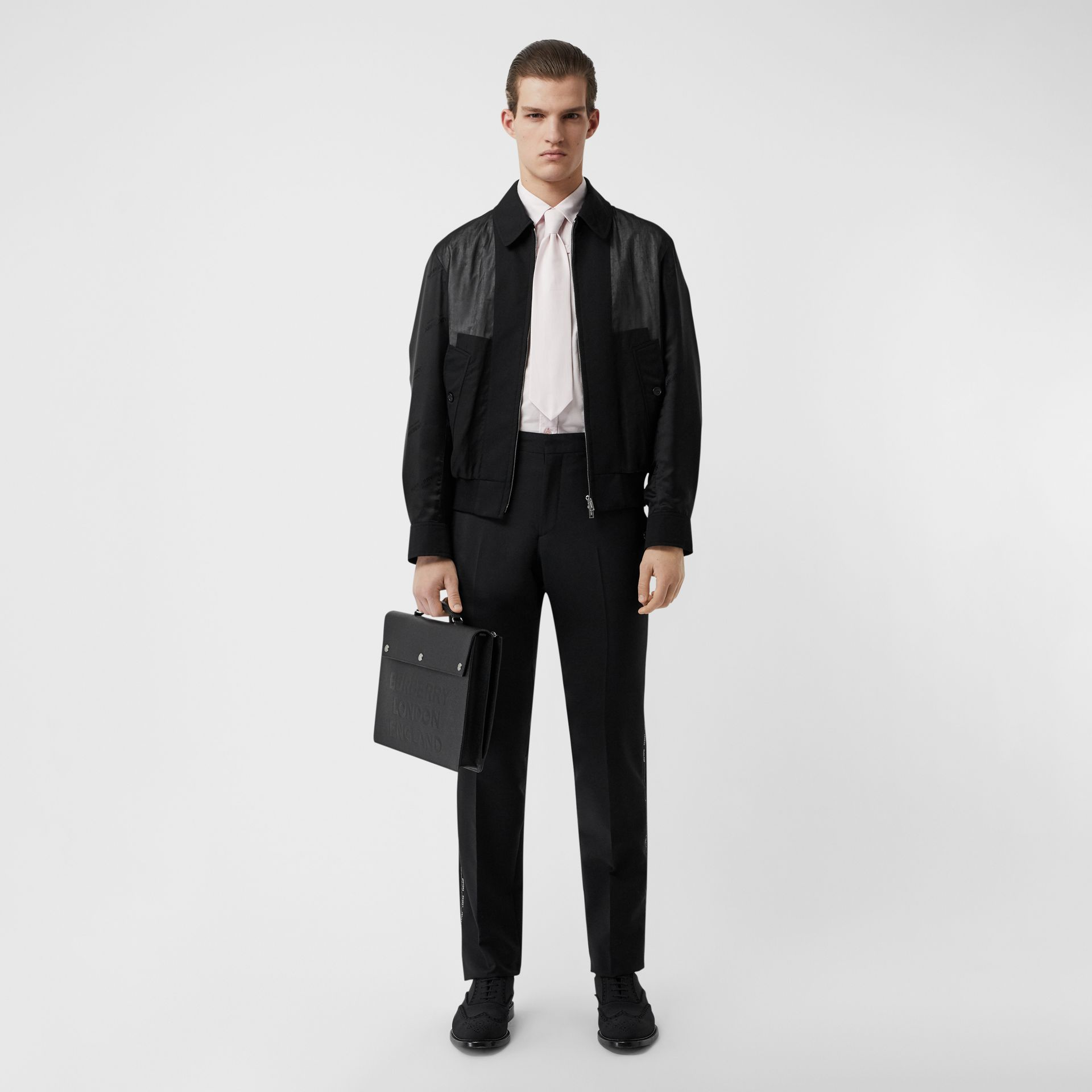 Logo Detail Panelled Cotton Blouson in Black - Men | Burberry Singapore - gallery image 0