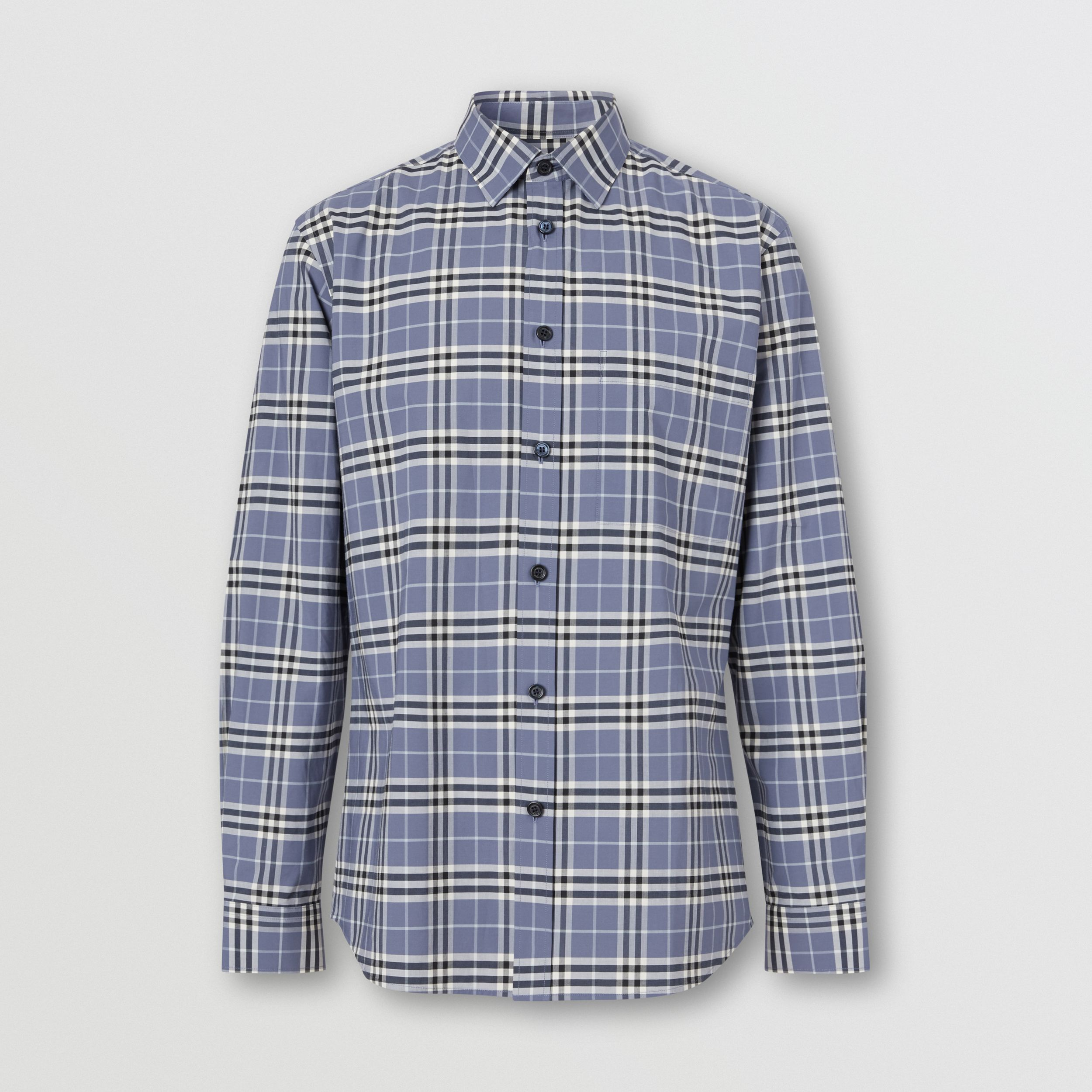 Small Scale Check Stretch Cotton Shirt in Pebble Blue - Men | Burberry - 4