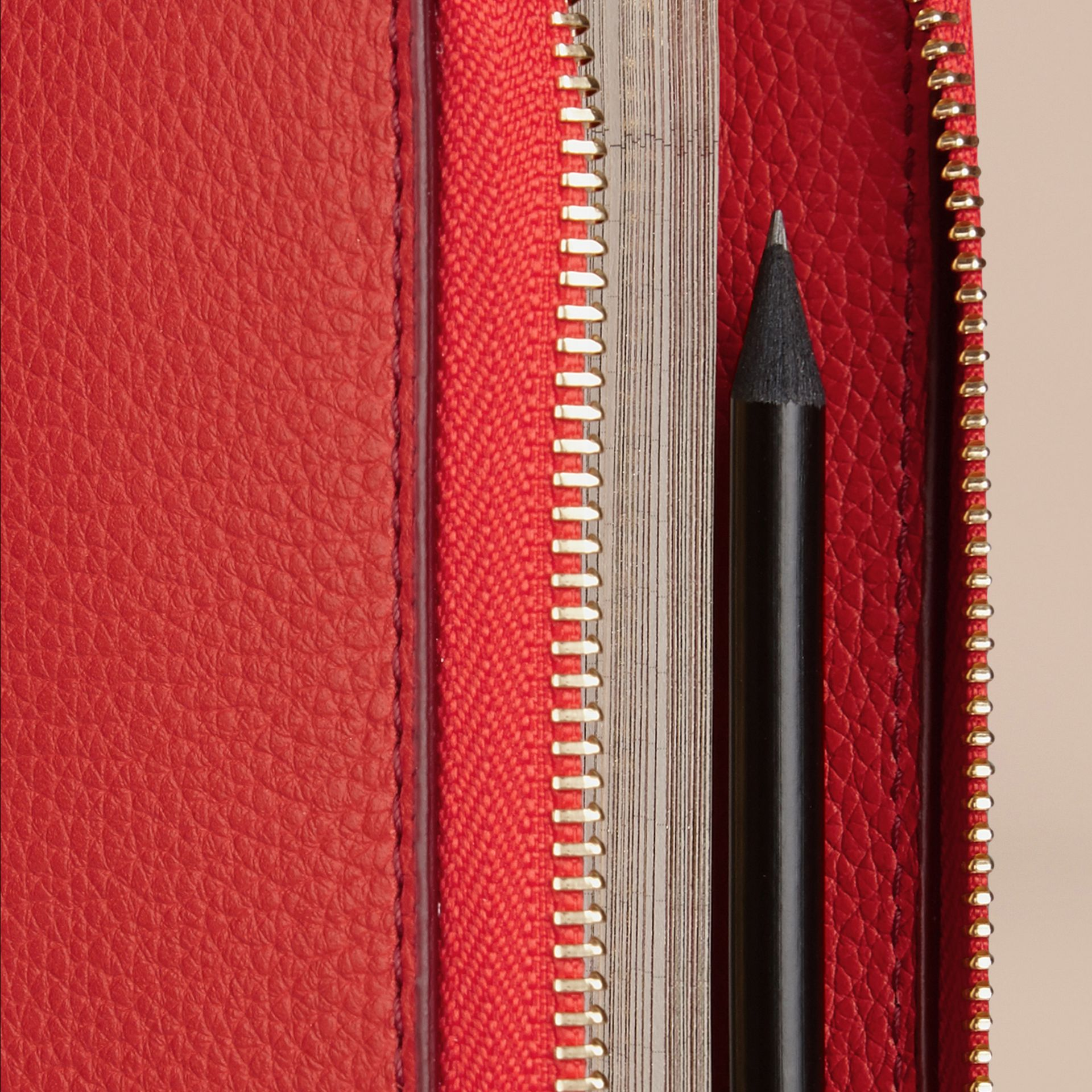 Ziparound Grainy Leather 18 Month 2016/17 A5 Diary in Orange Red | Burberry - gallery image 2