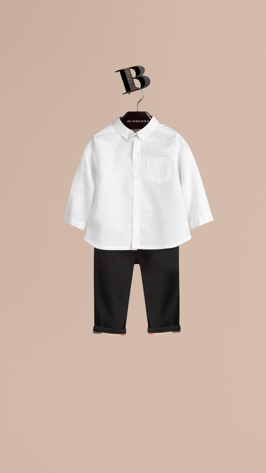 White Cotton Oxford Shirt White - Image 1