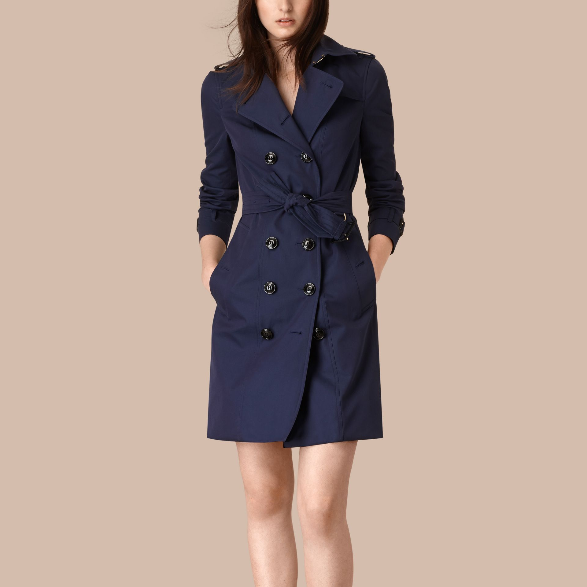Ink blue Cotton Gabardine Trench Coat Ink Blue - gallery image 6