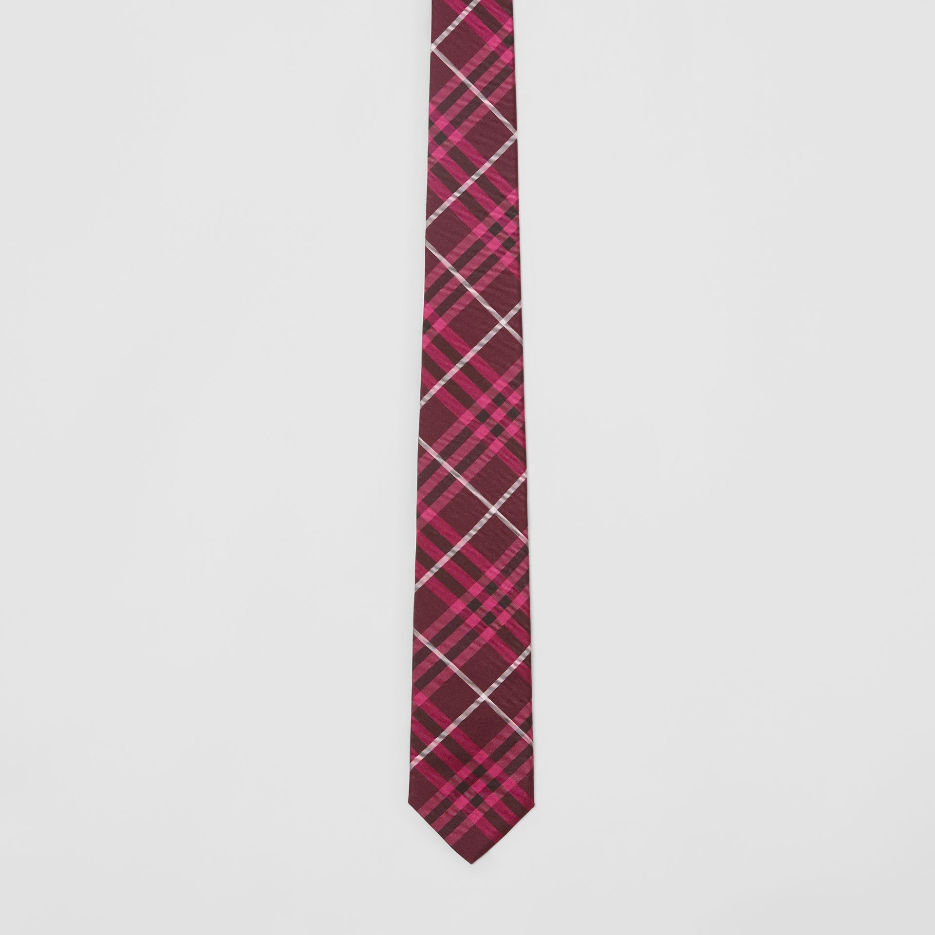 Slim Cut Check Silk Tie in Dark Elderberry - Men | Burberry - gallery image 4