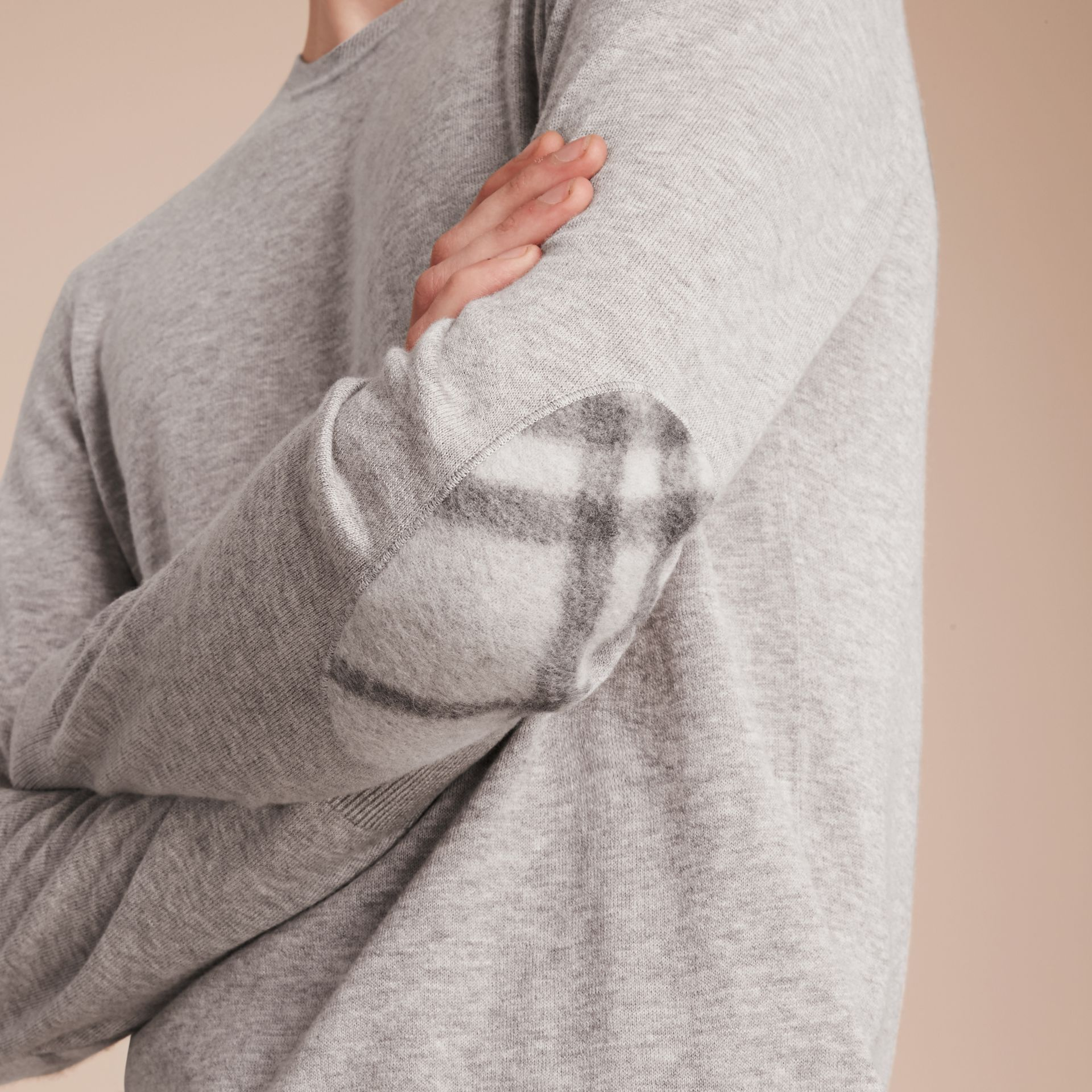 Check Trim Cashmere Cotton Sweater in Pale Grey Melange - Men | Burberry Australia - gallery image 5