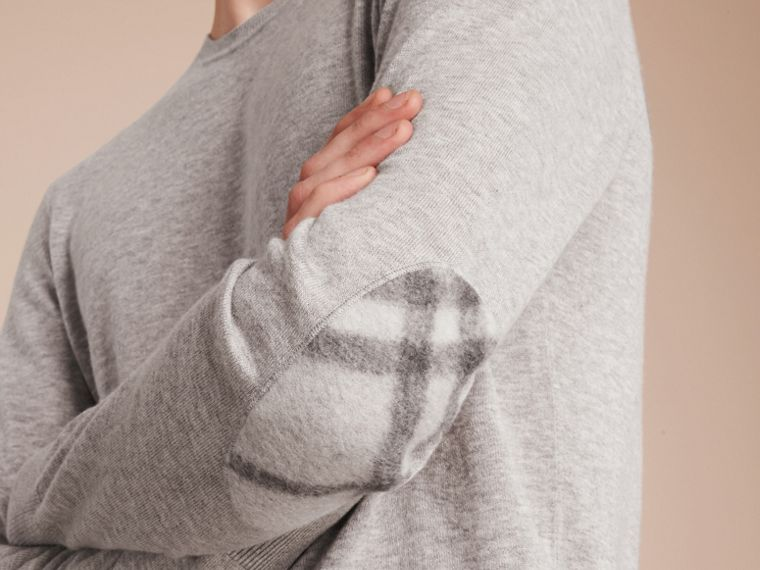 Check Trim Cashmere Cotton Sweater Pale Grey Melange - cell image 4