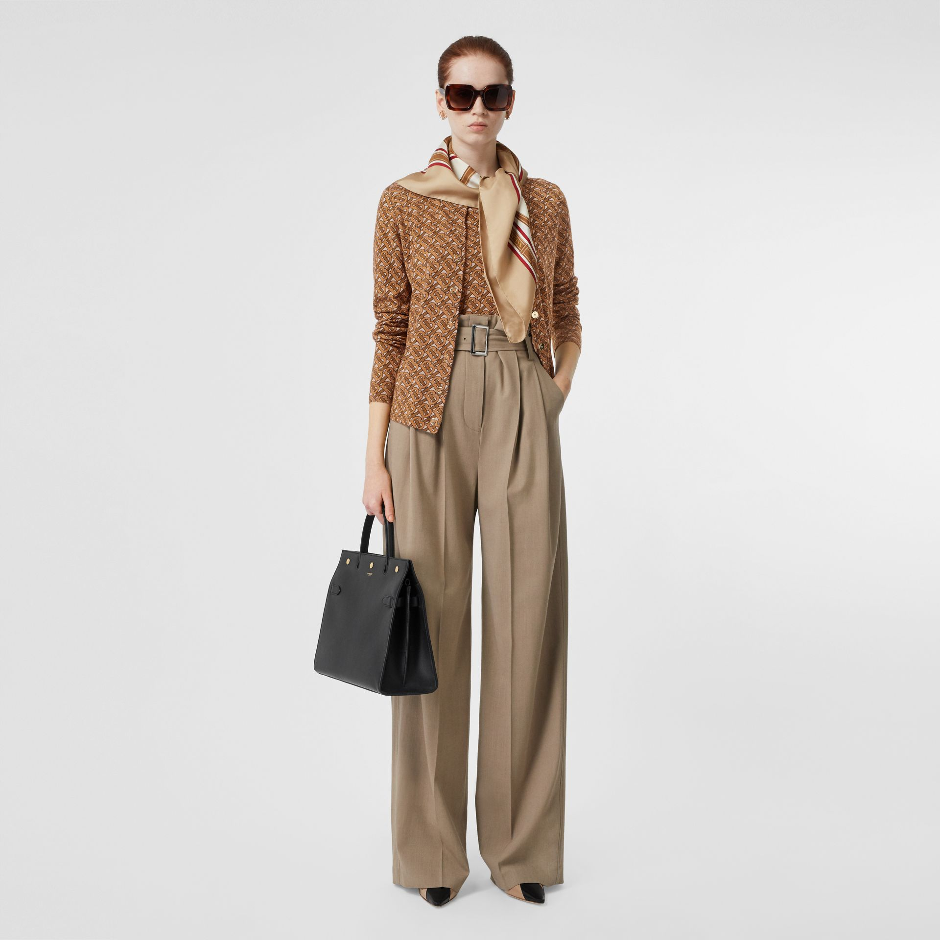Monogram Print Merino Wool Cardigan in Beige - Women | Burberry Singapore - gallery image 0
