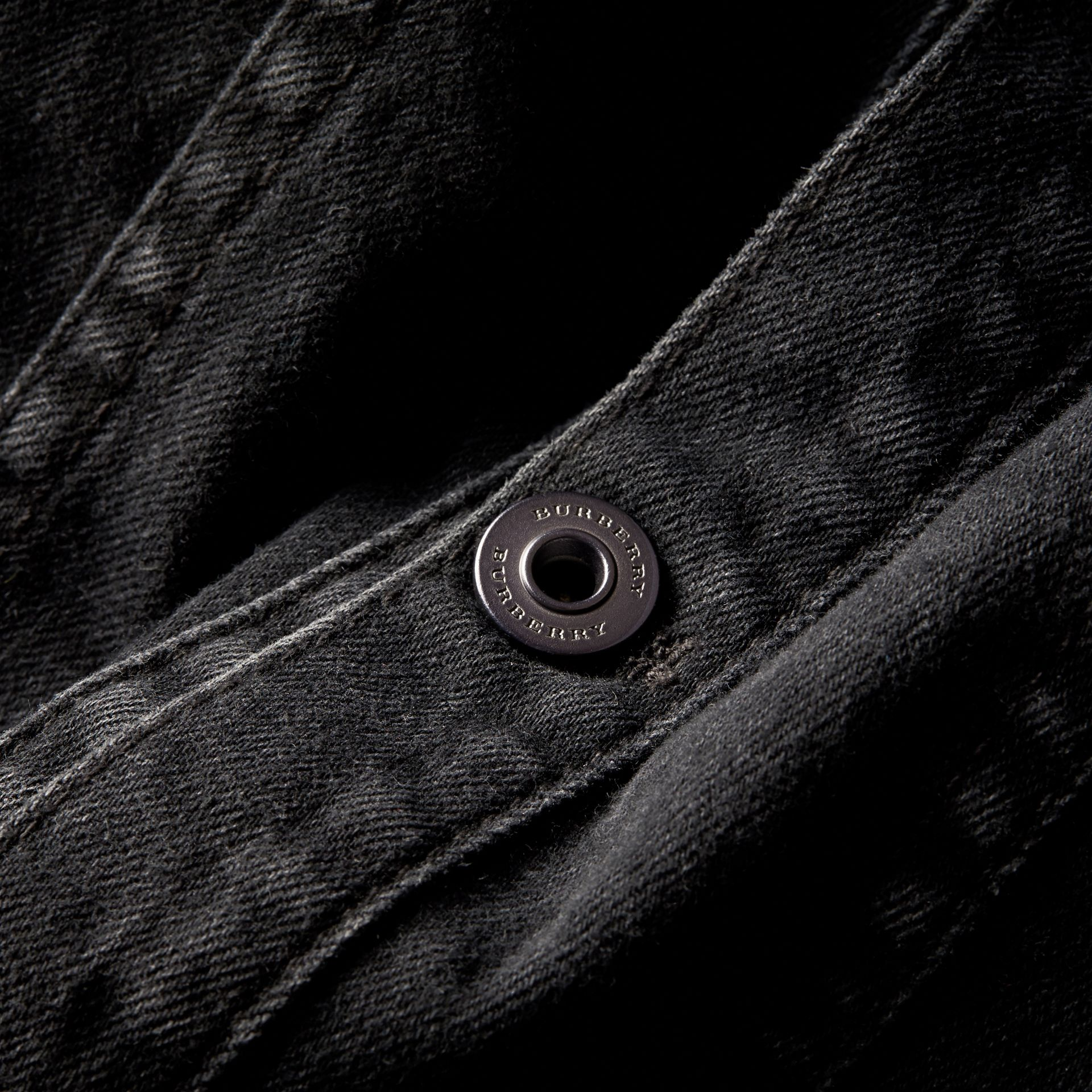 Black Seam Detail Japanese Denim Jacket - gallery image 2