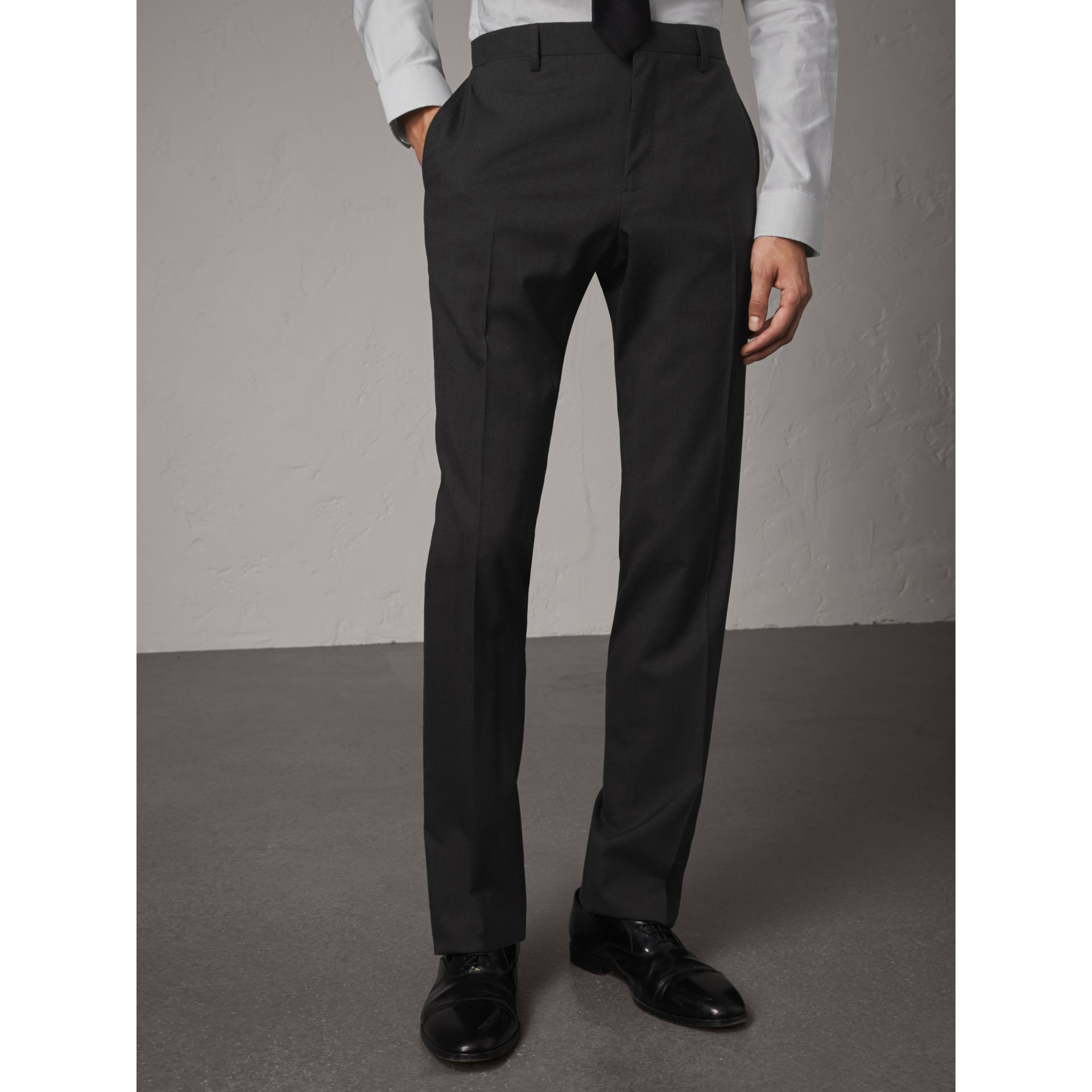 Modern Fit Wool Trousers in Charcoal - Men | Burberry - gallery image 6