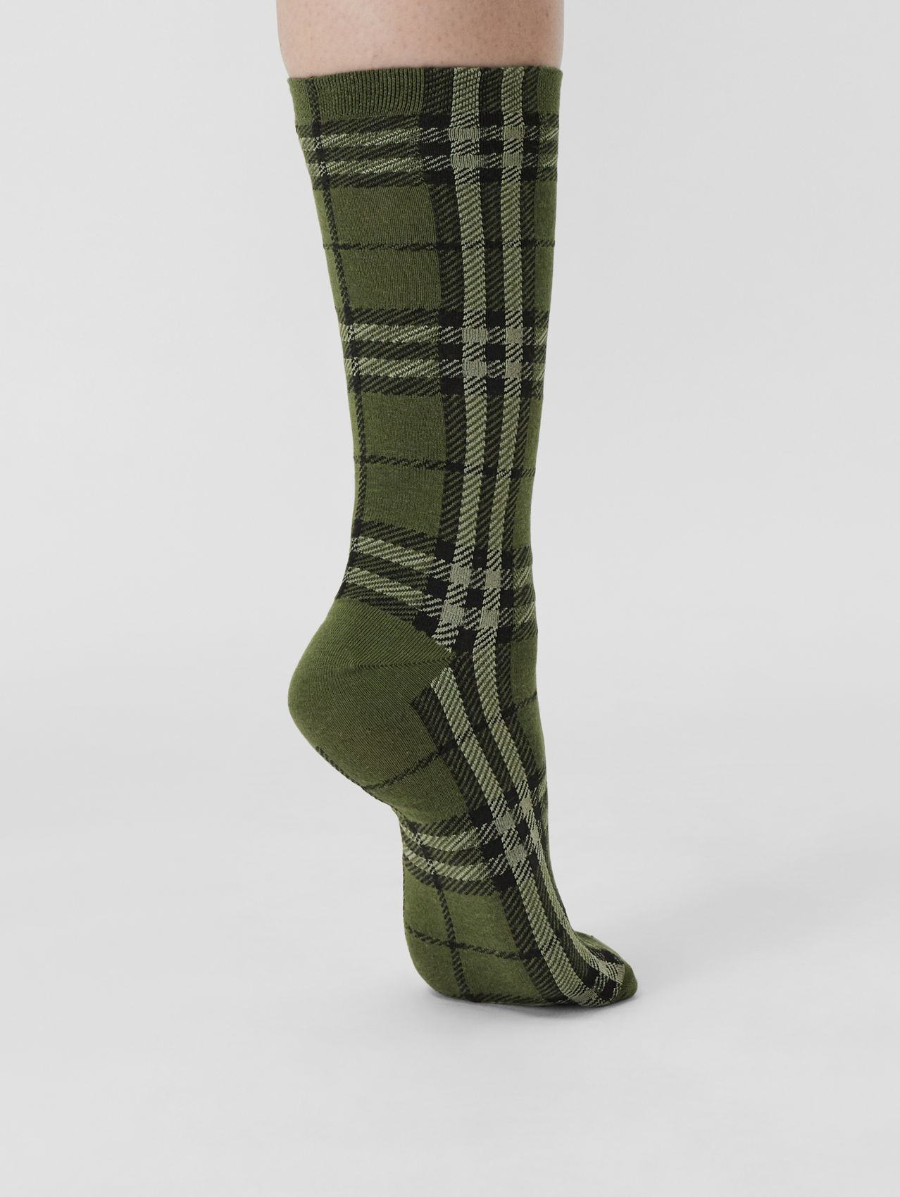 Check Cotton Cashmere Blend Socks in Military Green