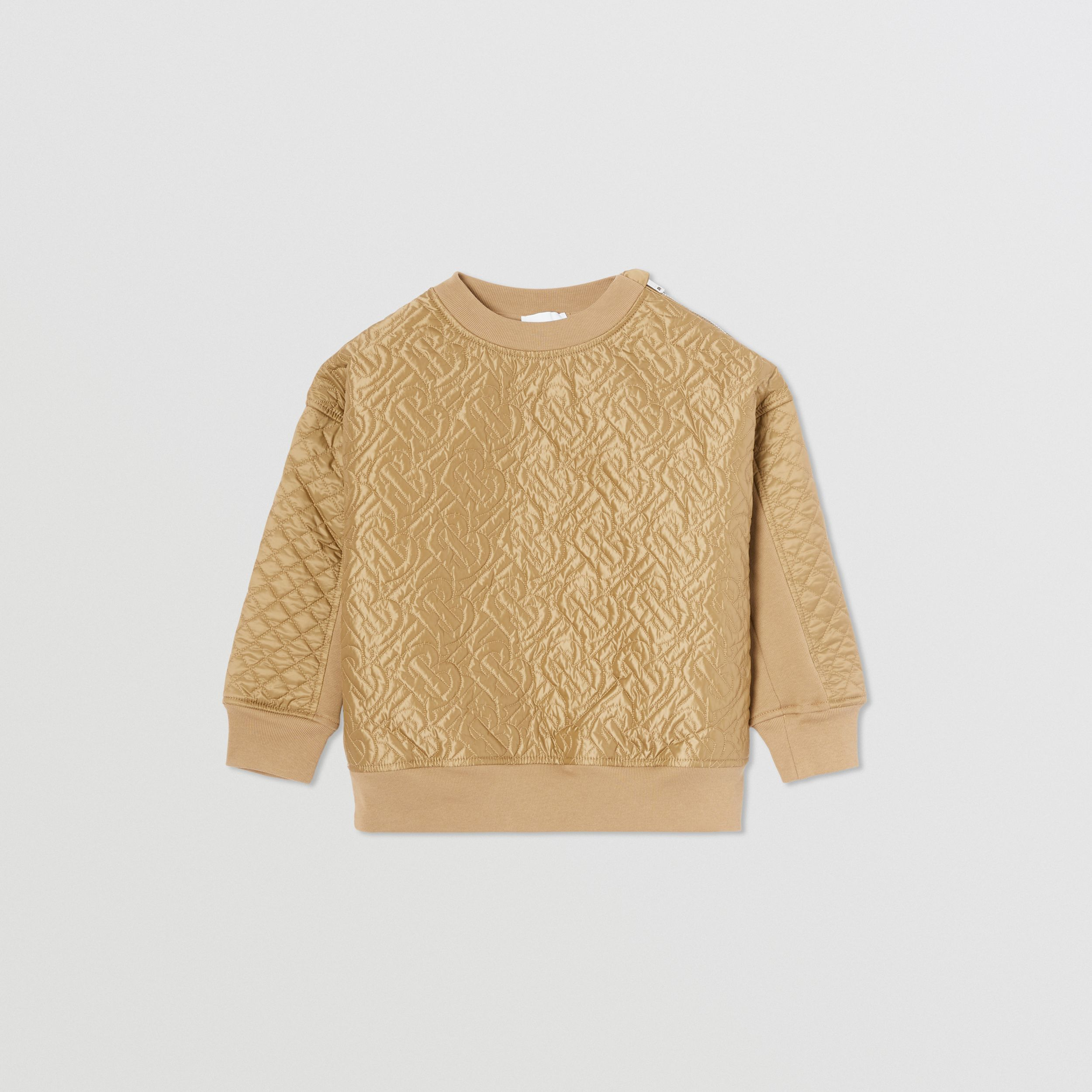 Monogram Quilted Panel Cotton Sweatshirt in Honey | Burberry - 1