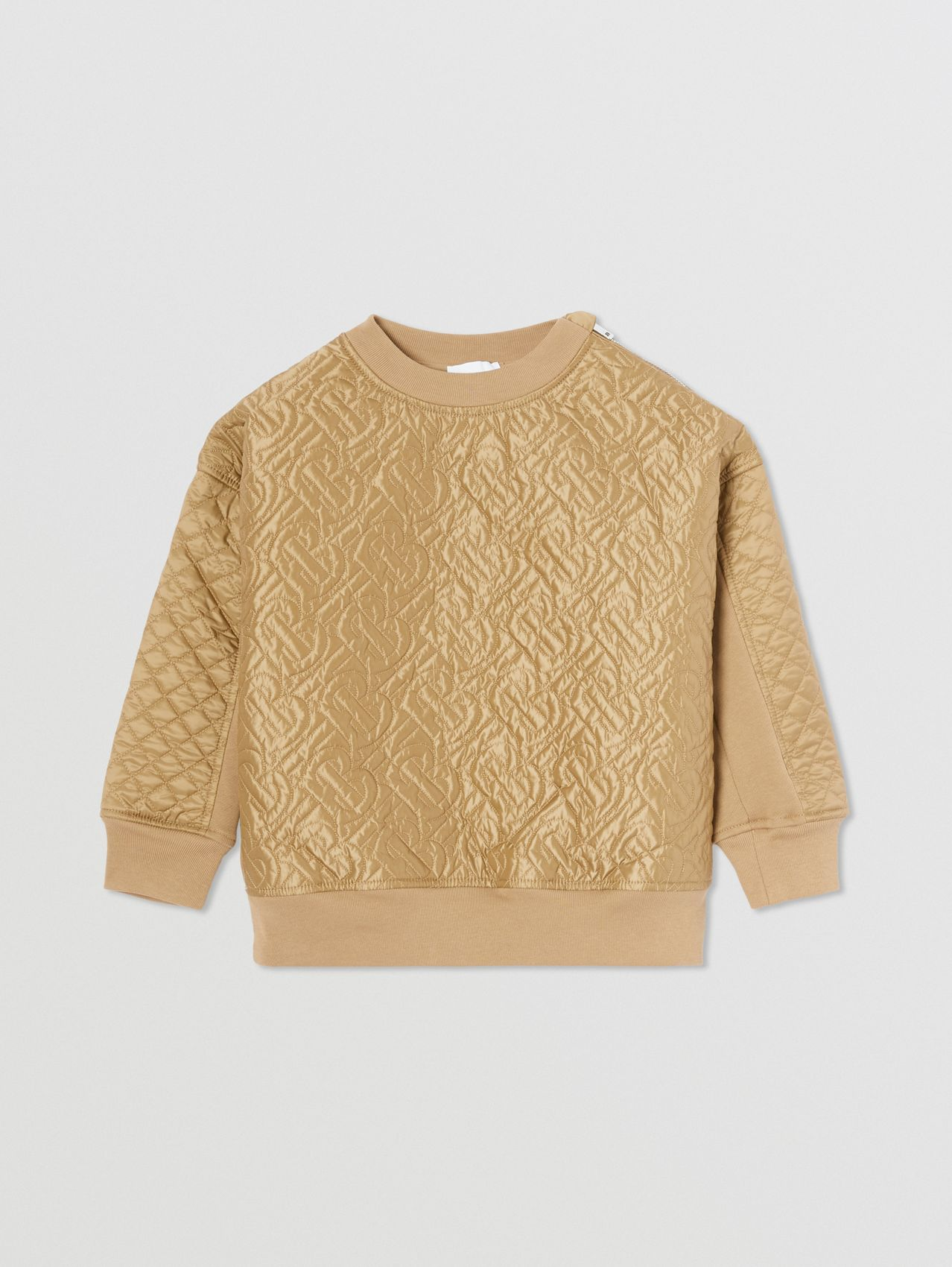 Monogram Quilted Panel Cotton Sweatshirt in Honey