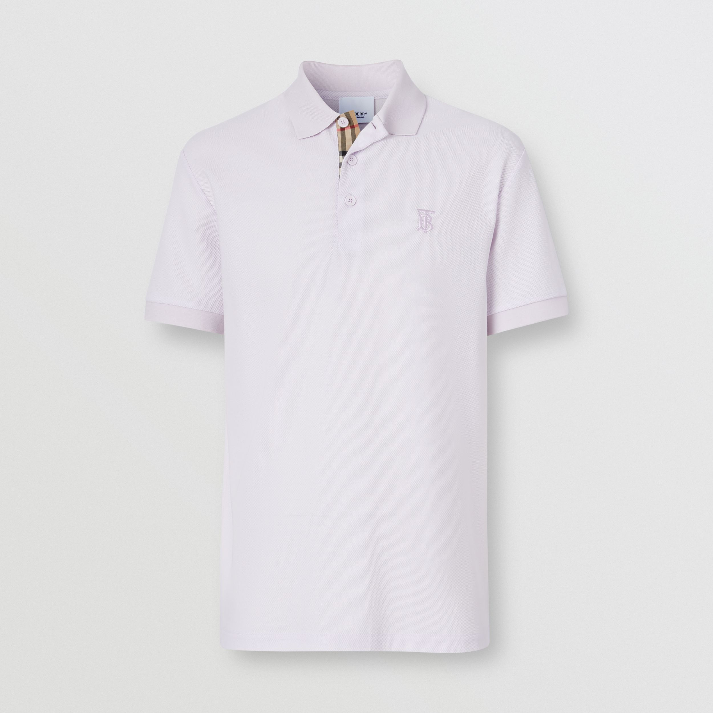 Monogram Motif Cotton Piqué Polo Shirt in Pale Thistle - Men | Burberry - 4