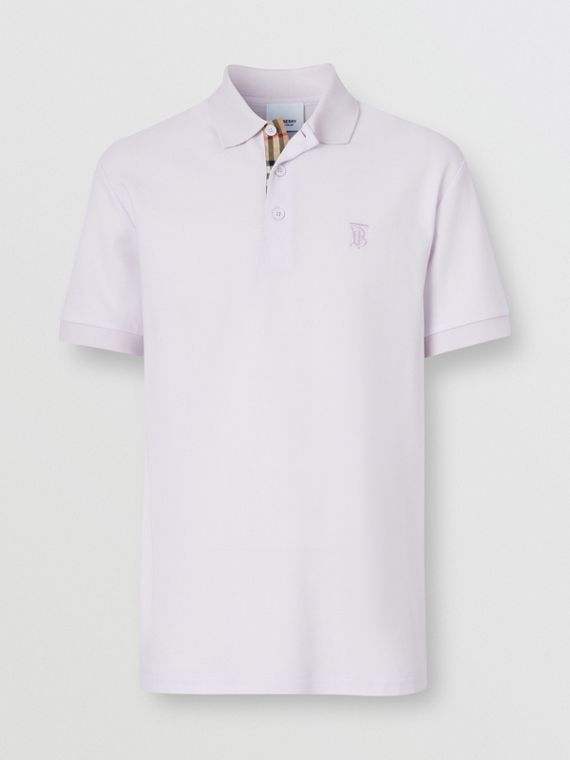 Monogram Motif Cotton Piqué Polo Shirt in Pale Thistle