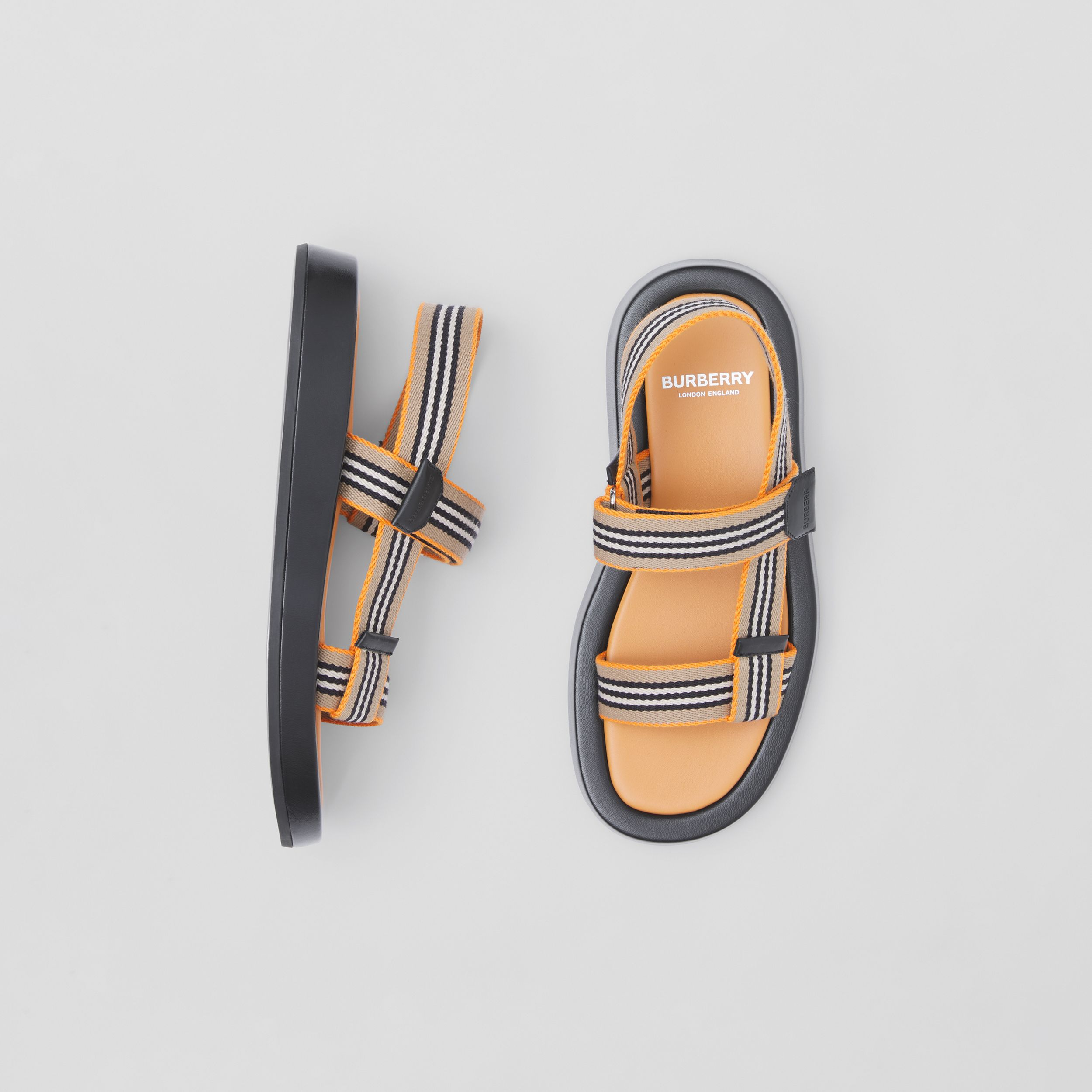 Icon Stripe Sandals in Deep Orange - Women | Burberry - 1