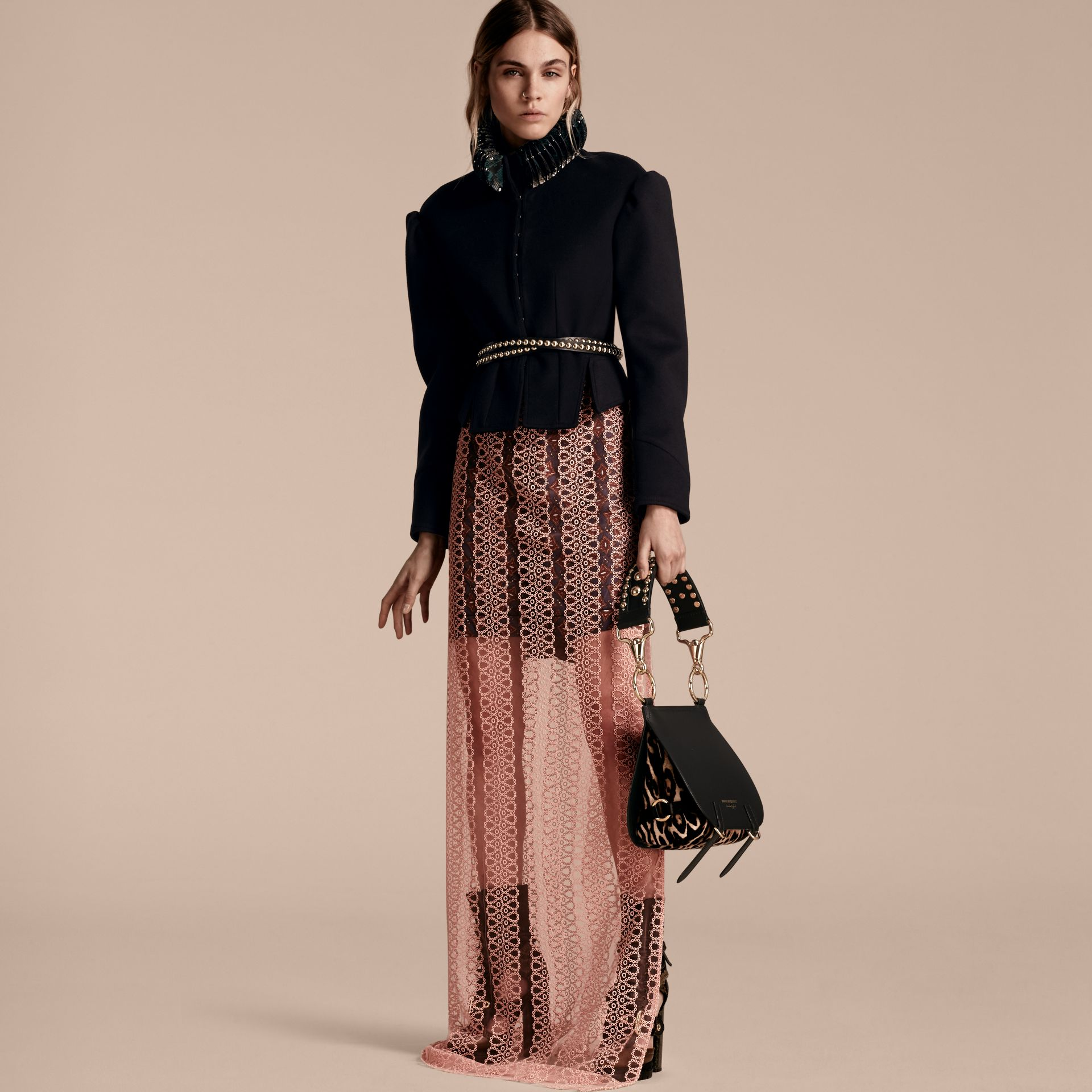 The Bridle Bag in Leather and Calfskin in Black - Women | Burberry United Kingdom - gallery image 3