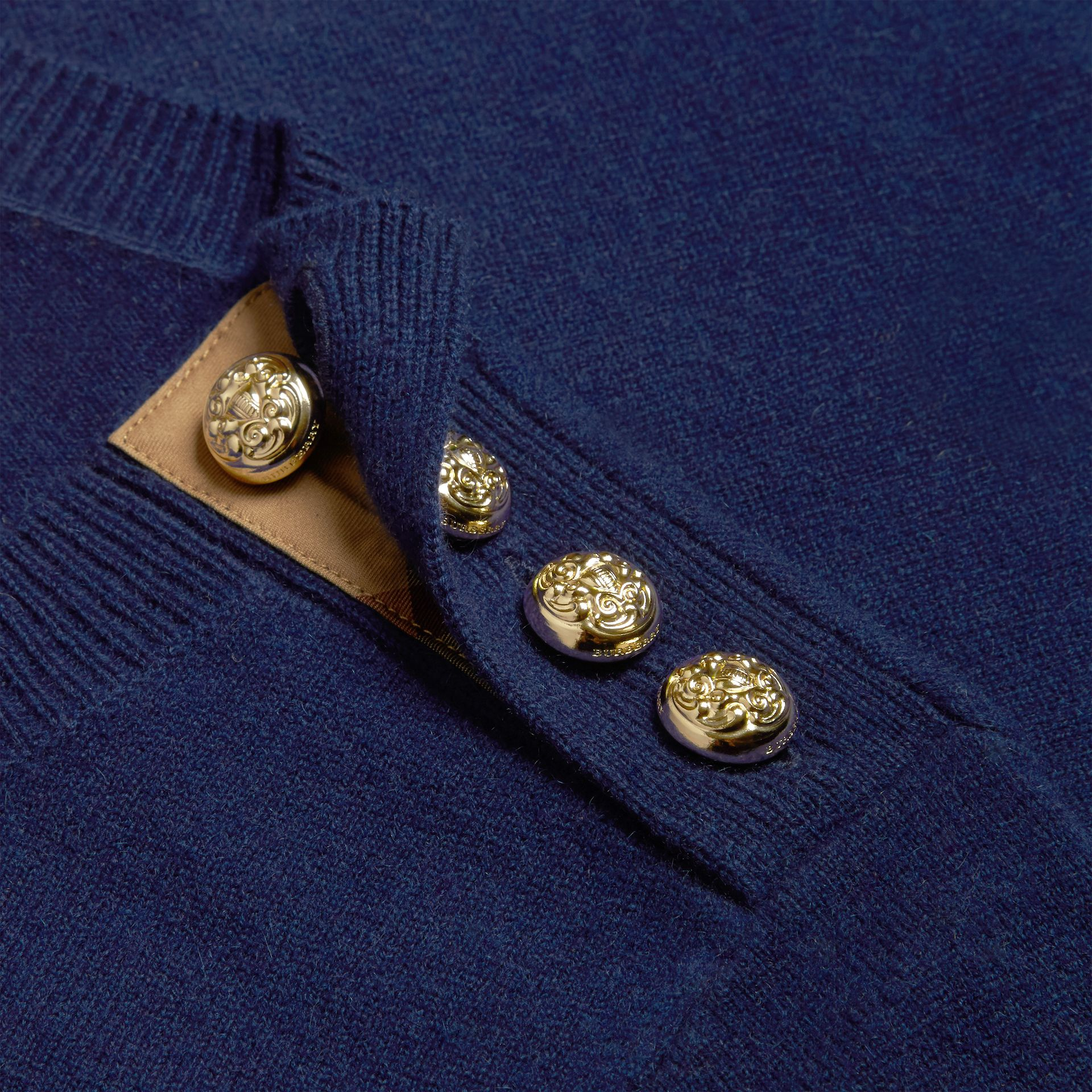 Bright navy Cashmere Sweater with Crested Buttons Bright Navy - gallery image 2
