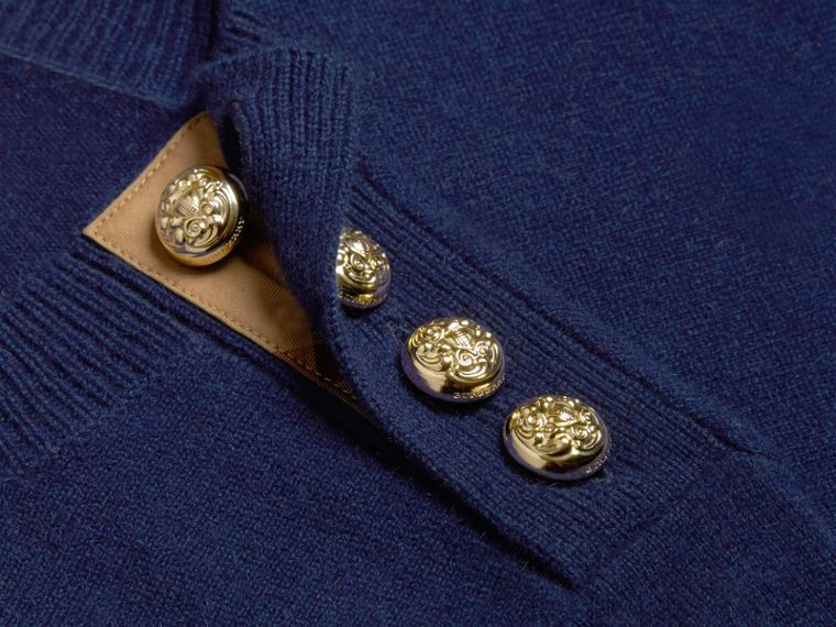 Bright navy Cashmere Sweater with Crested Buttons Bright Navy - cell image 1