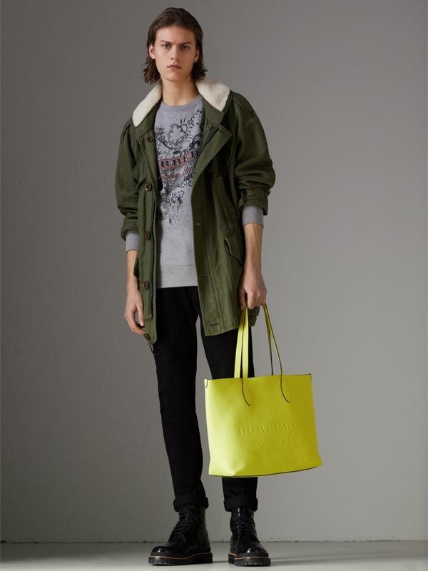 Embossed Leather Tote in Neon Yellow | Burberry United Kingdom - cell image 3