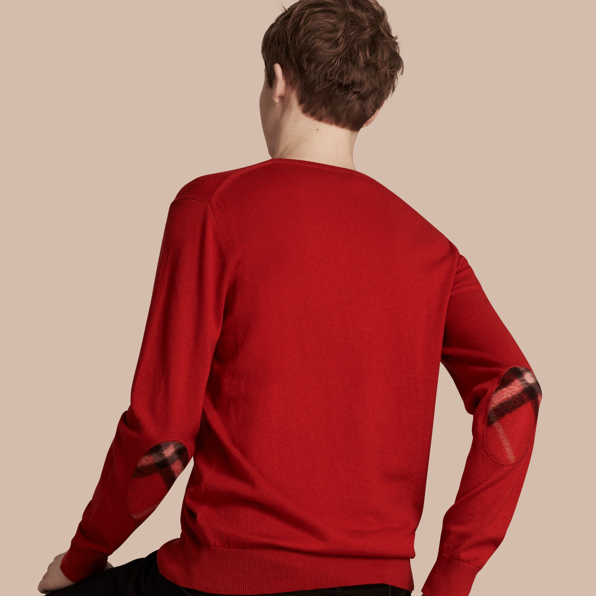 Check Trim Cashmere Cotton Sweater in Military Red - gallery image 1