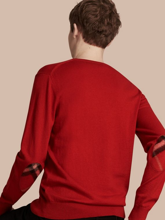 Check Trim Cashmere Cotton Sweater in Military Red