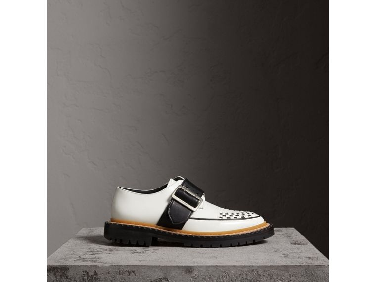 Buckle Detail Woven-toe Leather Shoes in Off White - Women | Burberry Australia - cell image 4