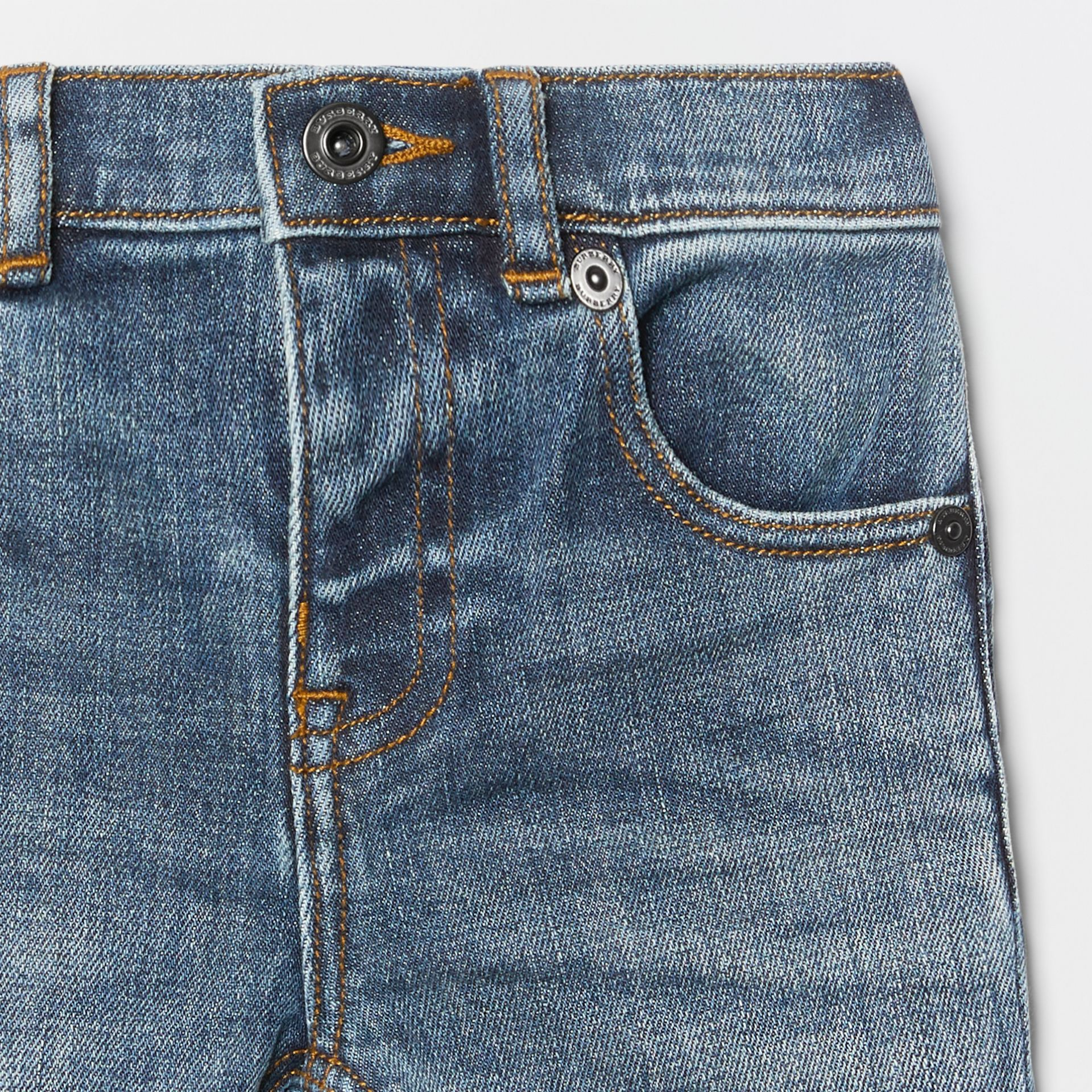 Relaxed Fit Stretch Denim Jeans in Mid Indigo - Children | Burberry - gallery image 4