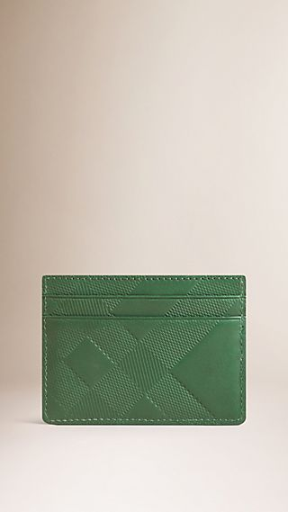 Embossed Check Leather Card Case