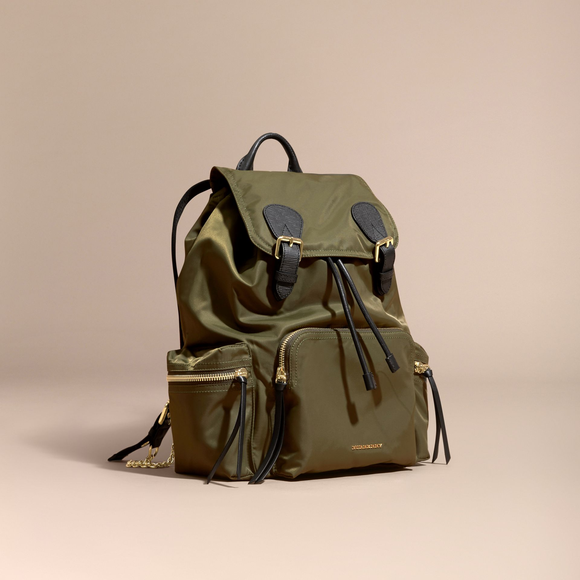 Canvas green The Large Rucksack in Technical Nylon and Leather Canvas Green - gallery image 1