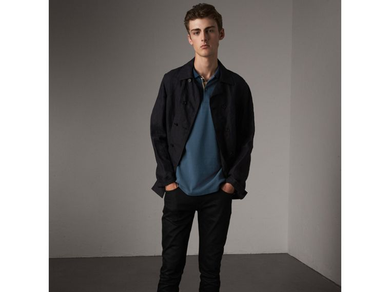 Long-sleeve Cotton Piqué Polo Shirt in Canvas Blue - Men | Burberry - cell image 4