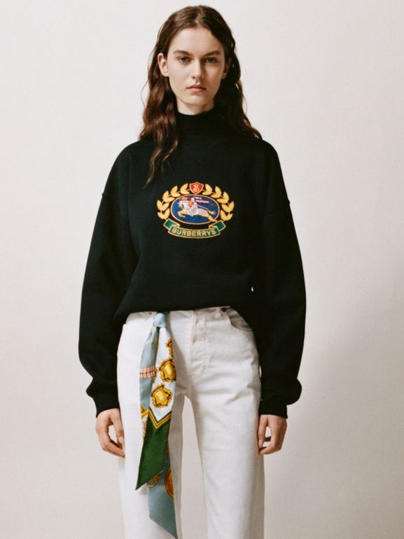 Embroidered Archive Logo Cotton Blend Sweatshirt in Black - Women | Burberry - cell image 1