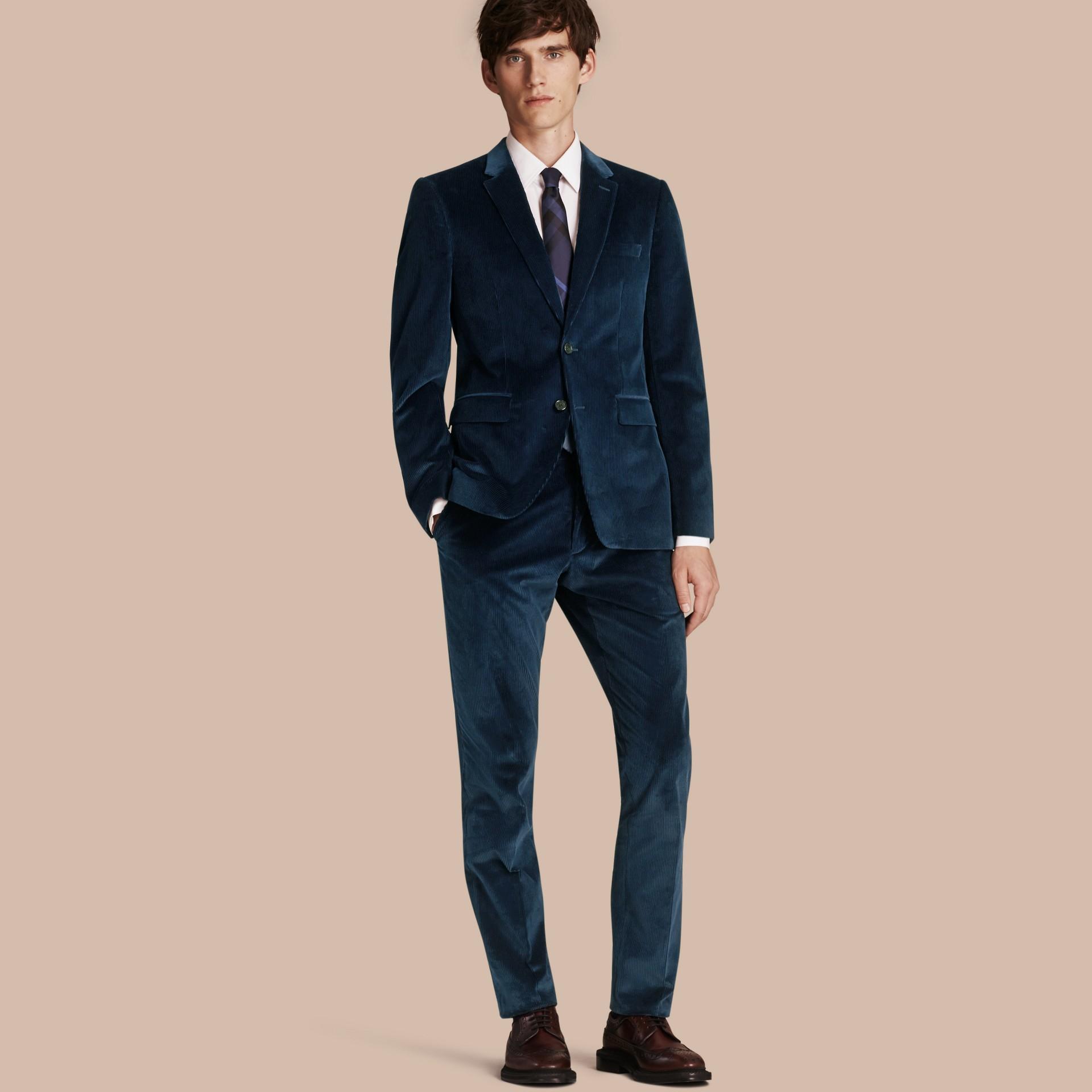 Navy Slim Fit Cotton Corduroy Jacket - gallery image 1