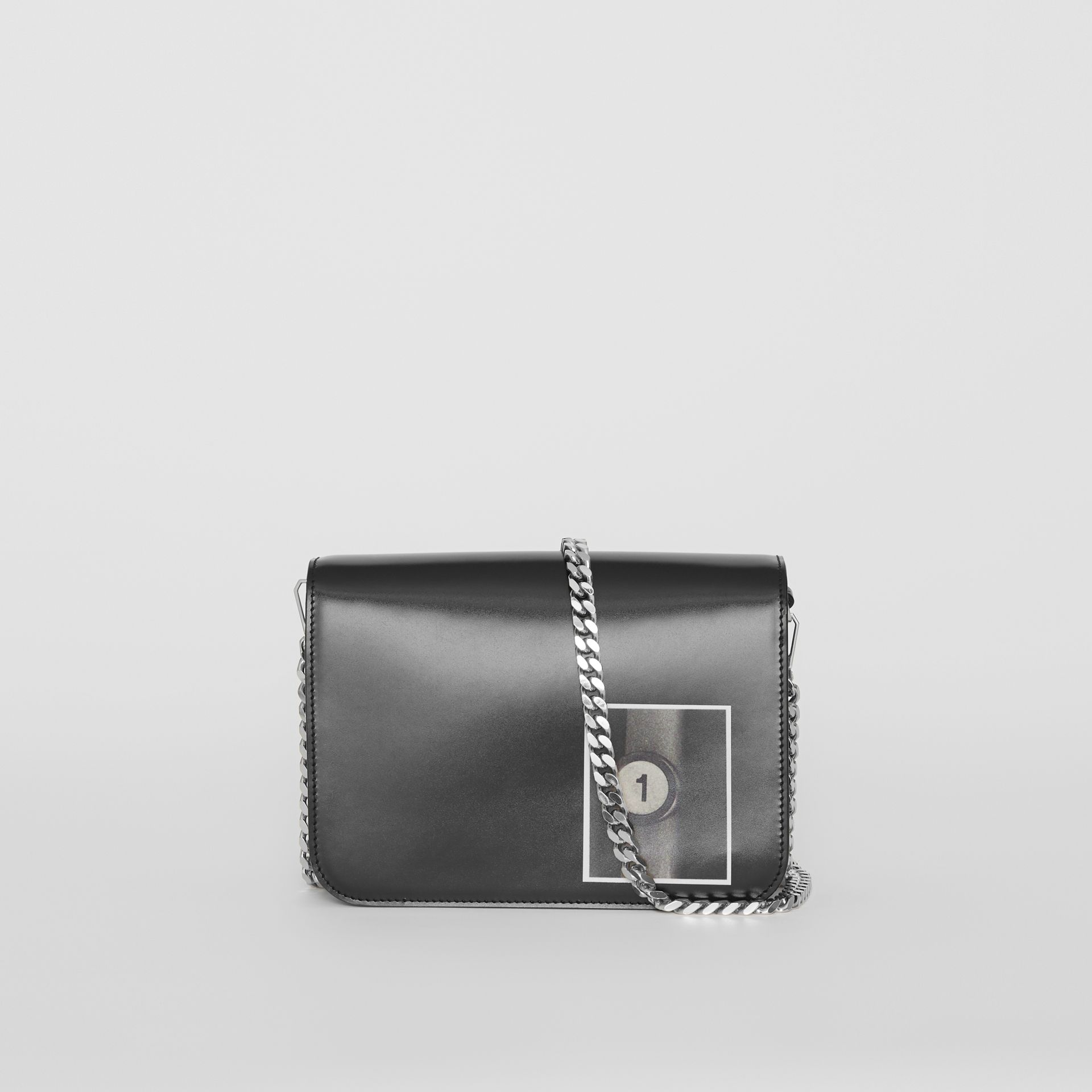 Small Montage Print Leather TB Bag in Black - Women | Burberry Australia - gallery image 7