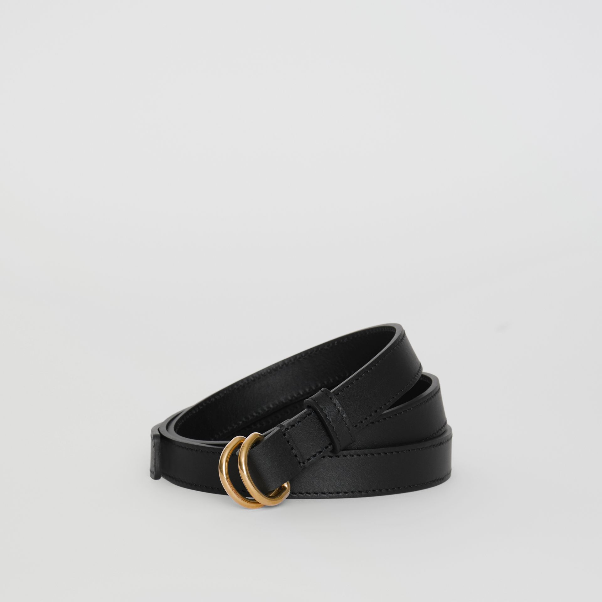Slim Leather Double D-ring Belt in Black/dark Brass - Women | Burberry United Kingdom - gallery image 0