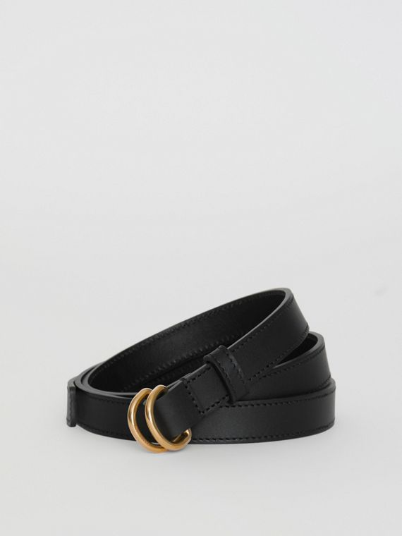 Slim Leather Double D-ring Belt in Black/dark Brass