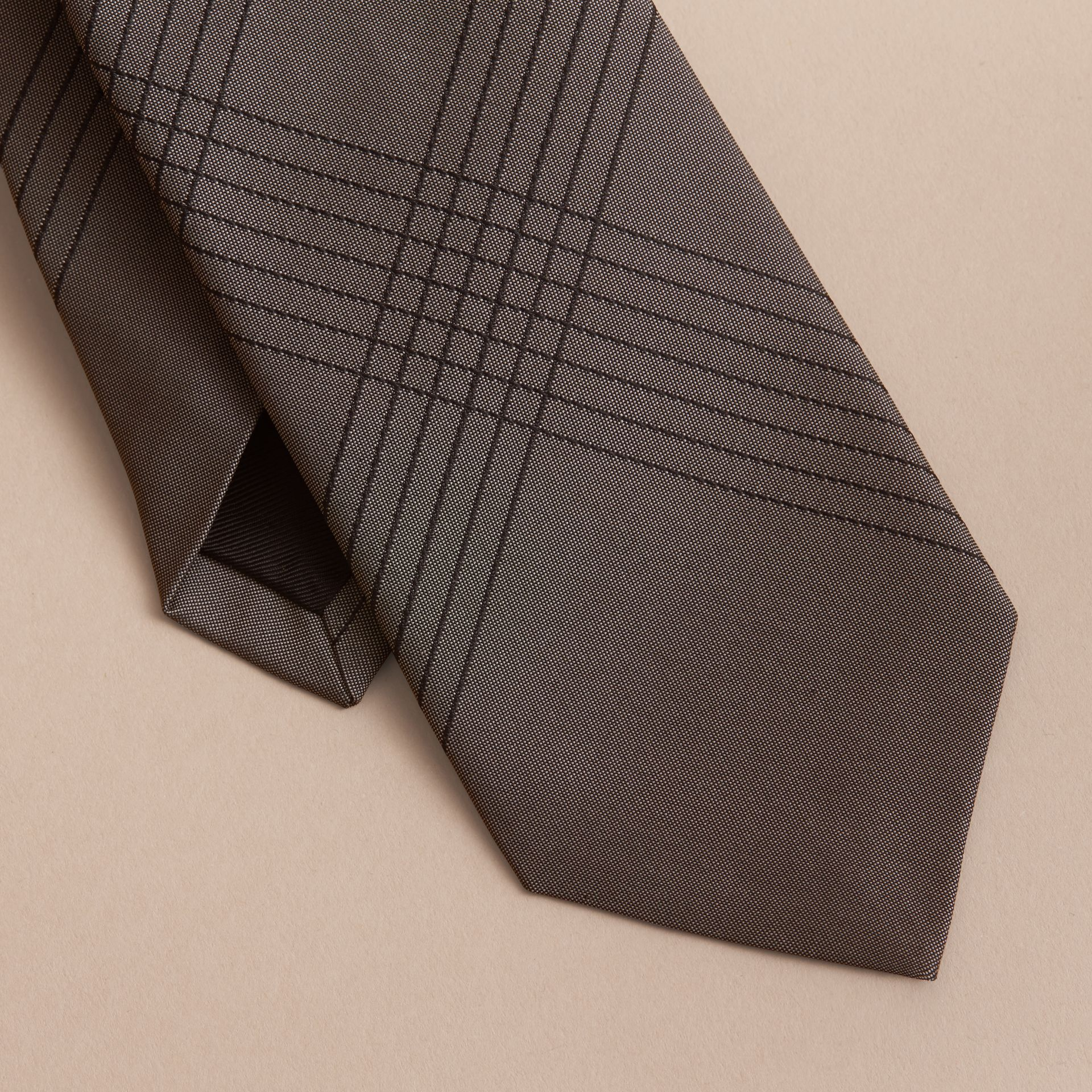 Modern Cut Topstitched Check Silk Tie in Green Grey - Men | Burberry Australia - gallery image 2