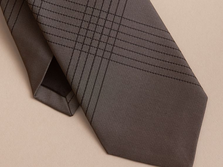 Modern Cut Topstitched Check Silk Tie in Green Grey - Men | Burberry Australia - cell image 1