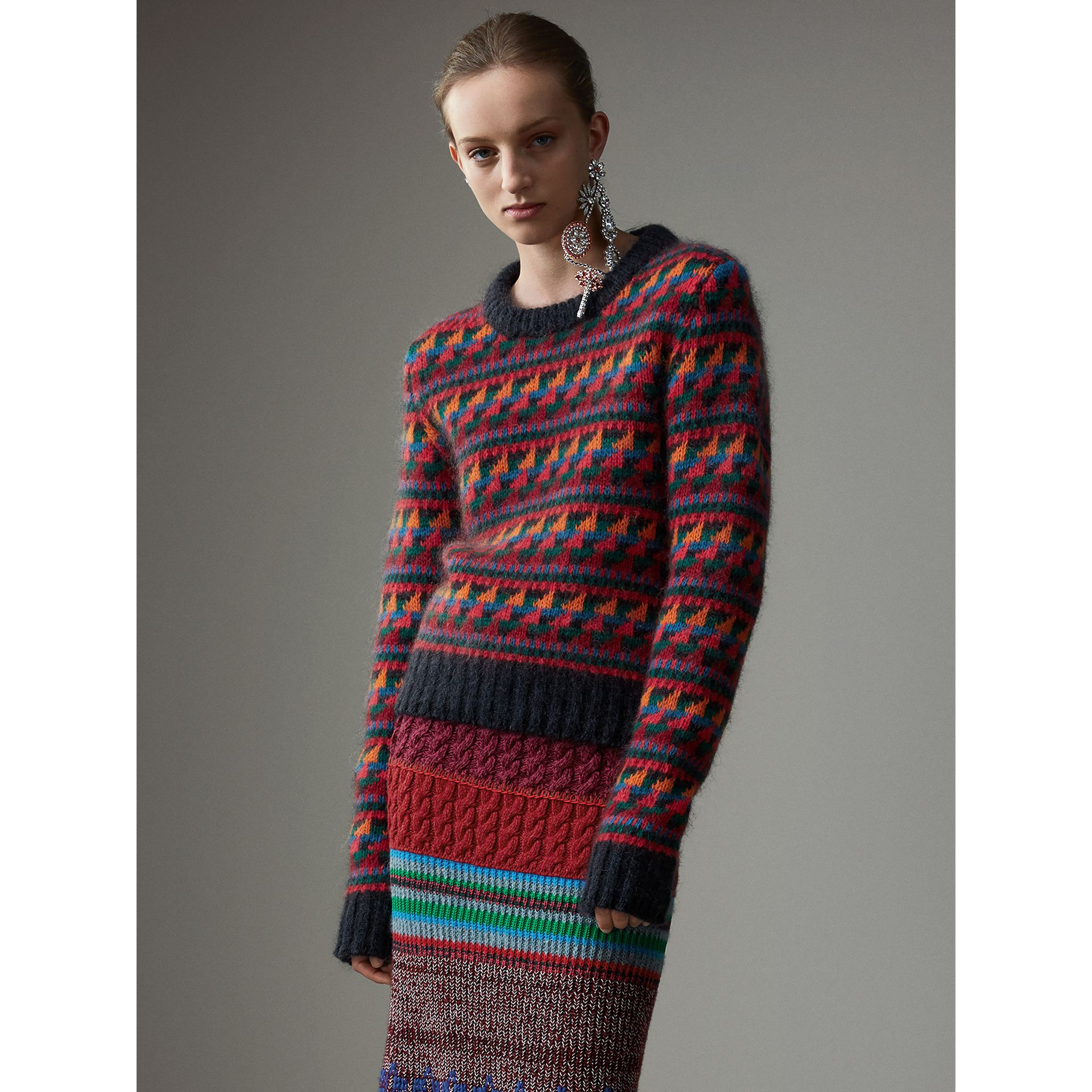Fair Isle Knitted Wool Mohair Blend Sweater in Multicolour - Women | Burberry - gallery image 7