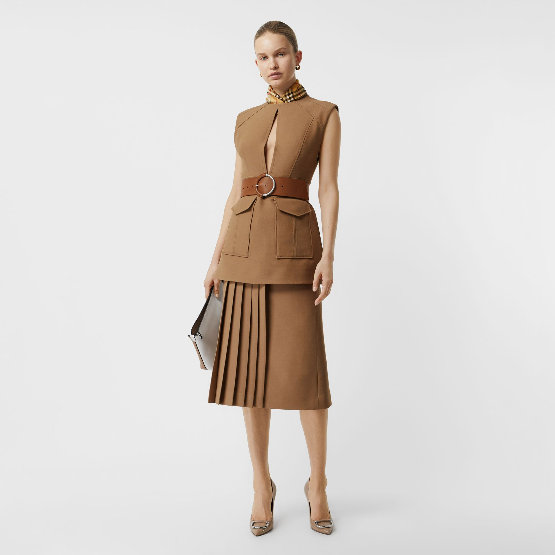 Keyhole Detail Sleeveless Wool Silk Top in Camel - Women | Burberry Canada - gallery image 0